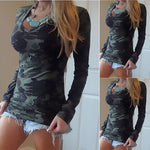 Women Summer Autumn Fashion Long Sleeve V-neck Camouflage Printing Slim Casual T-shirt Army All Match Tops Tee
