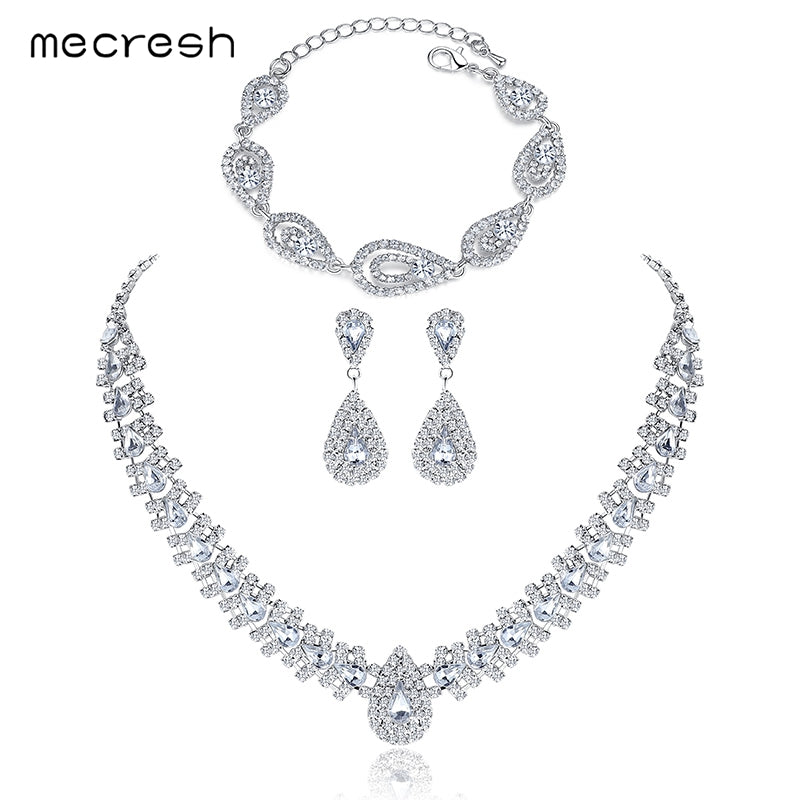 Minlover Silver Color Crystal Bridal Jewelry Sets Wedding Jewelry Earrings Bracelet Necklace Sets TL001+SL022