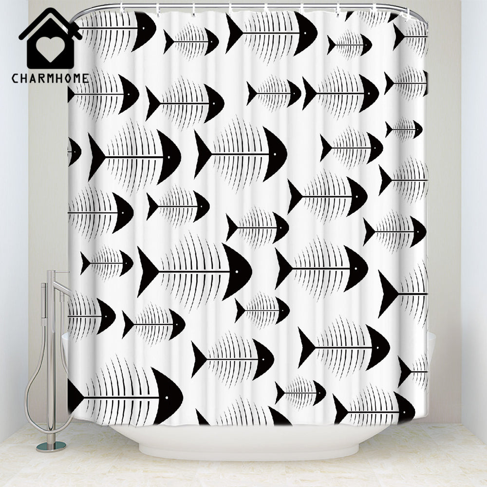 CHARMHOME Fabric White Shower Curtain Home Decor Bathroom Accessories Fishbones Fish Printing Waterproof Polyester Bath Curtain
