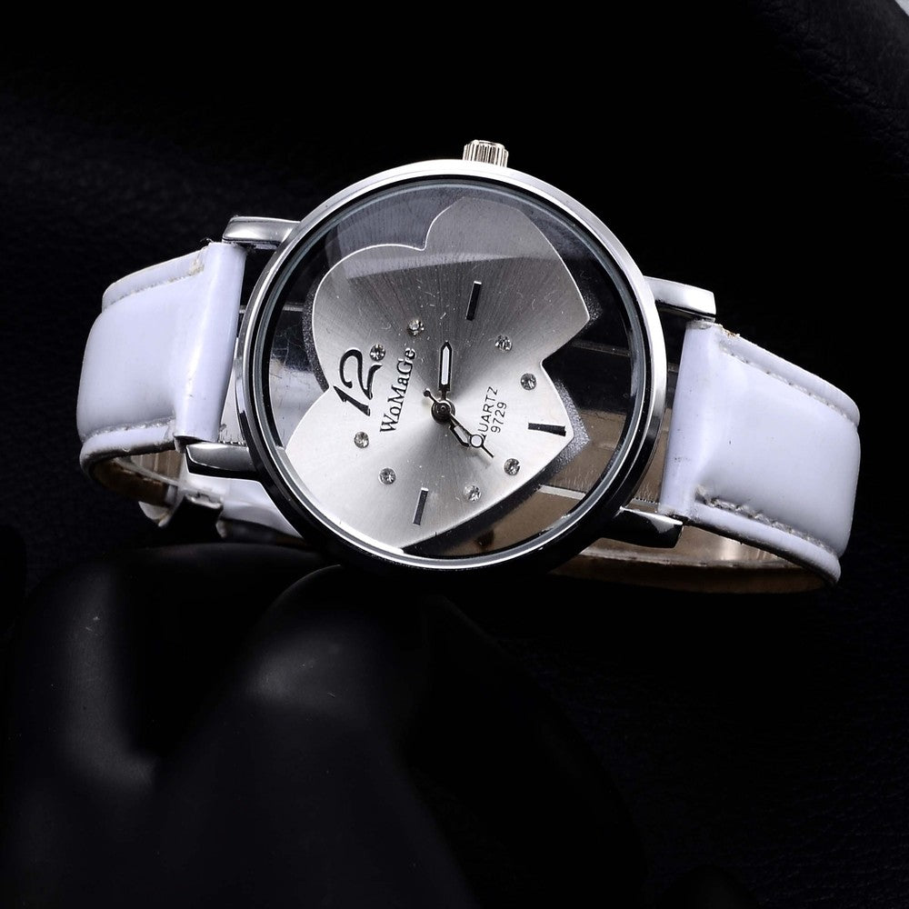 Crystal Heart-Shaped Wrist Watch