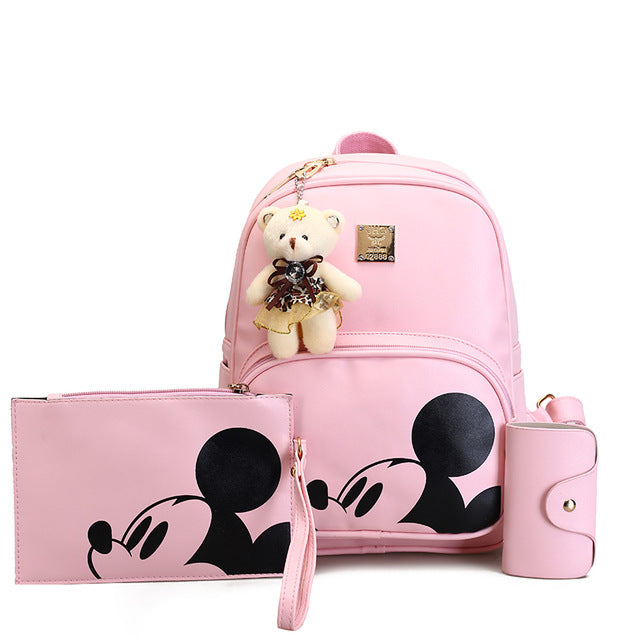 Fashion Mickey Mouse Backpack with Matching Purse and Wallet