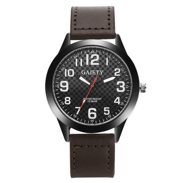 Fashion Plaid Pattern Watches Mens Stainless Steel Military Wrist Watch Mens Top Brand Leather Quartz Watches