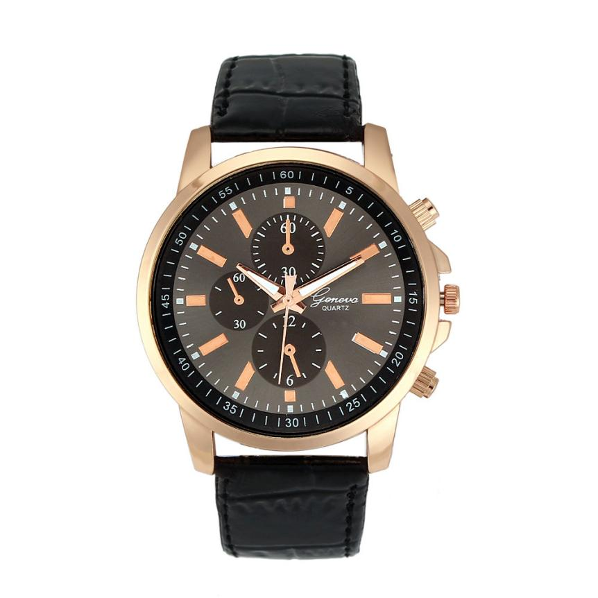 Men's Unisex Faux Leather Quartz Analog Wrist Watch