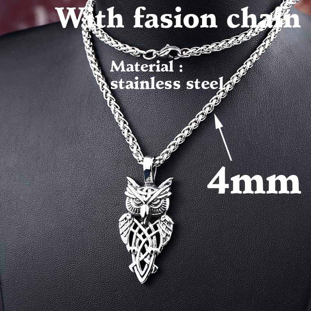 steel soldier punk rock owl necklace pendant, stainless steel animal jewelry