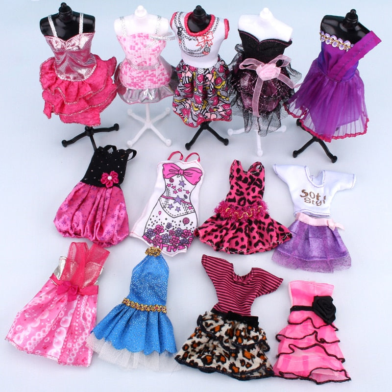 10 Piece Dress Up Barbie Dolls Clothes Set Fashion Barbie Skirt Wedding Dress Barbie House Party Clothing Best Girl Gift