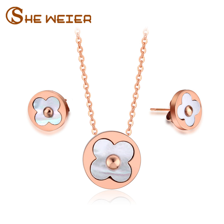 SHE WEIER Dubai Stainless Steel Jewelry Sets For Women Necklace Set Parure Bijoux Femme Sieraden Rose Gold Four Leaf Clover