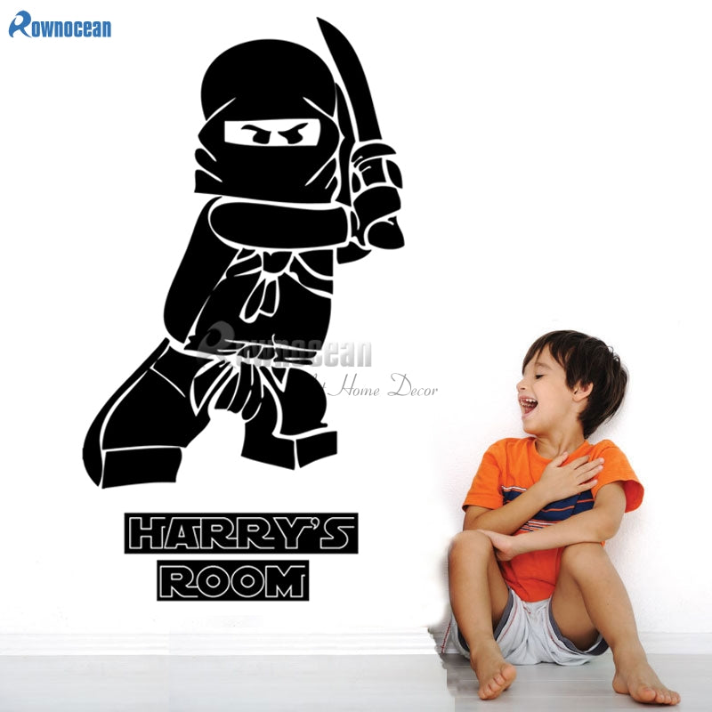 Superhero Ninjago Personalised Children's Bedroom Decor Vinyl Wall Sticker Ninga Wallpaper for Boy's Bedroom N24