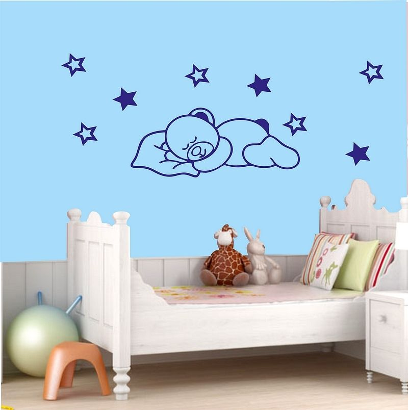 Sleepy bear Stars Vinyl Wall Stickers Decor Nursery Baby Kids Room Cartoon Wall Decal Art Wallpaper High Quality Mural SA996