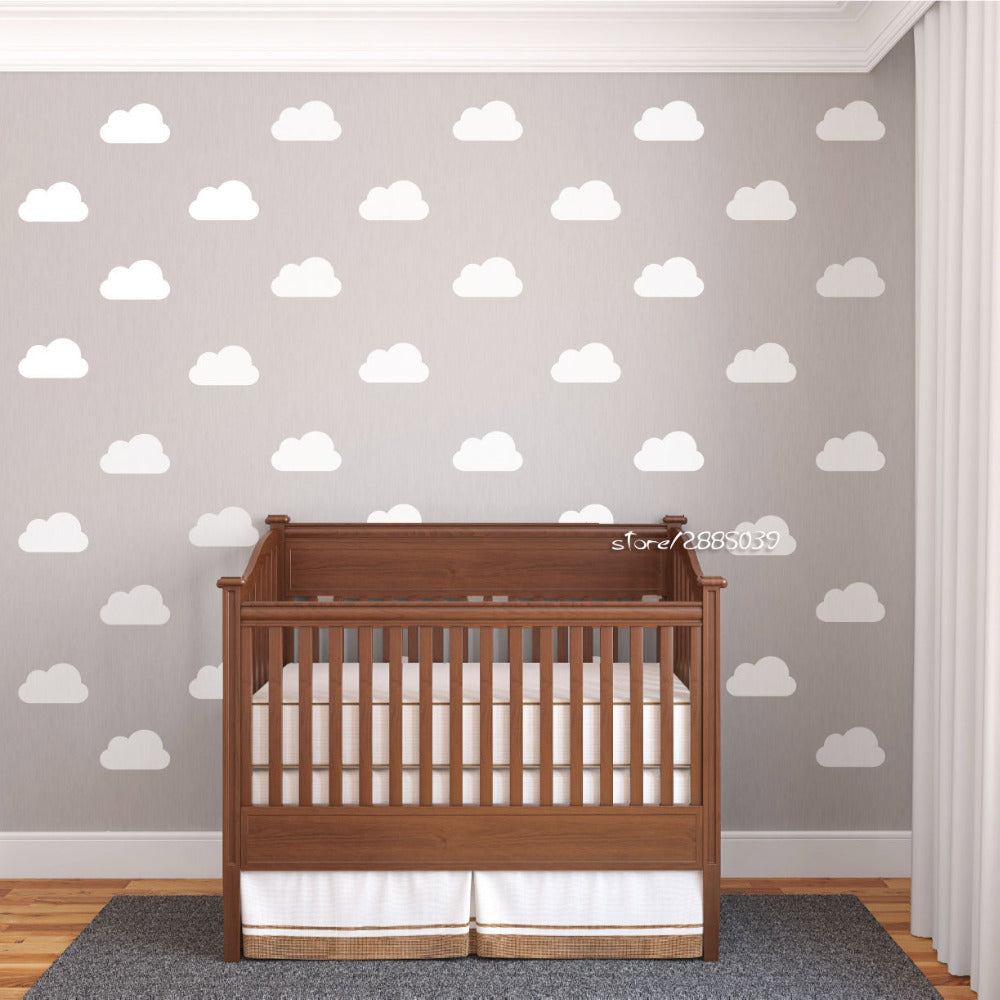 25pcs/set White Nursery Cloud Wall Stickers Vinyl Wall Decals Customized Colors Available Wallpaper Artistic Design Mural  SA521