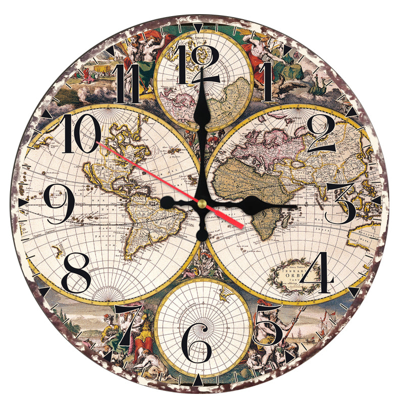 New fashion wall clock wooden clocks Quartz watch Europe home decor living room still life circle single face map stickers