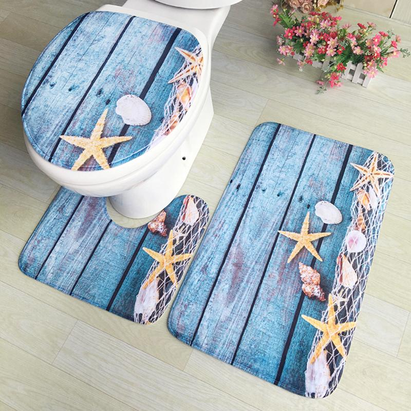 3pcs/set Flannel Print Non Slip Toilet Seat Cover Set