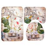 3 PCS Printed Coral Fleece Toilet Seat Cover Set