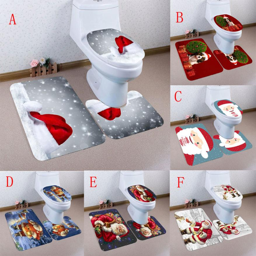 3pcs Christmas Non-Slip Toilet Seat Cover Set