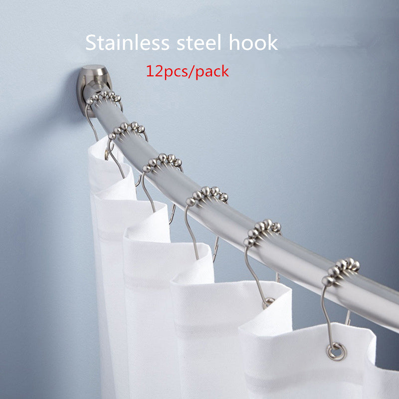 12 Pack: Stainless Steel 5 Roller Ball Shower Curtain Rings