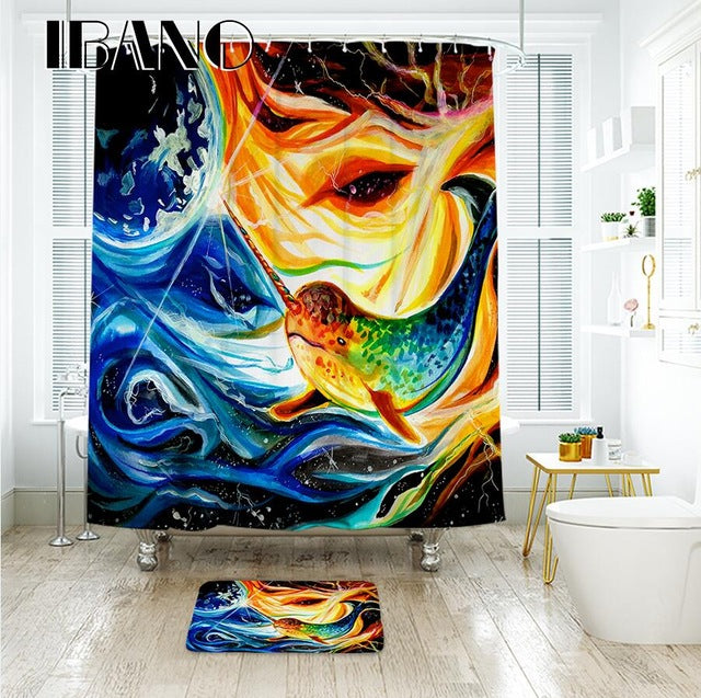 IBANO Cartoon Shower Curtain Waterproof Polyester Fabric Bath Curtain For The Bathroom Decoration With 12pcs Plastic Hooks