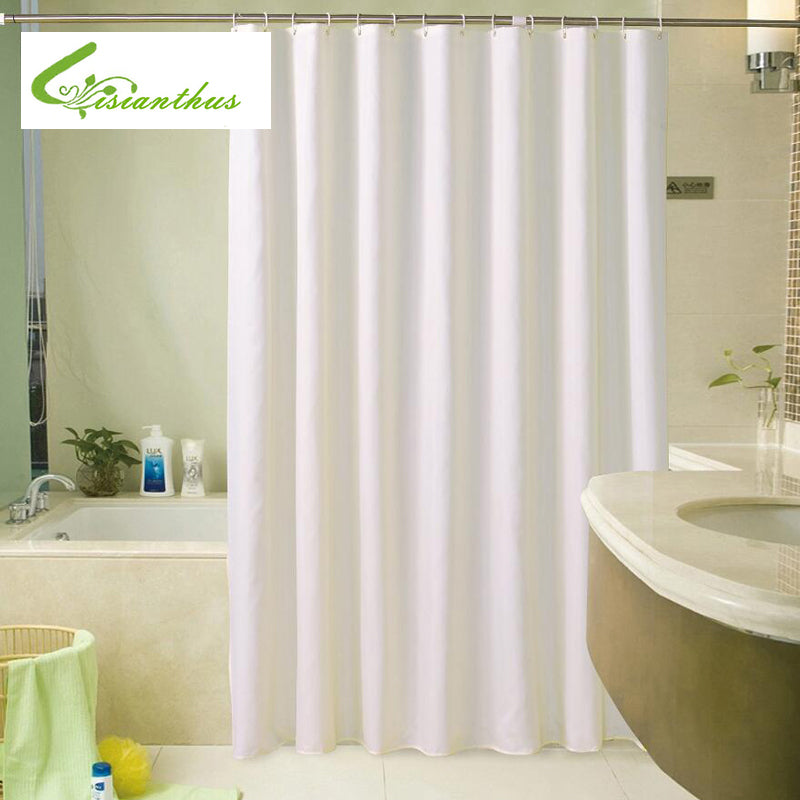 Hotel Quality White Color Polyester Waterproof Fabric Shower Curtain with Hooks for Bathroom Showers and Bathtubs More Size