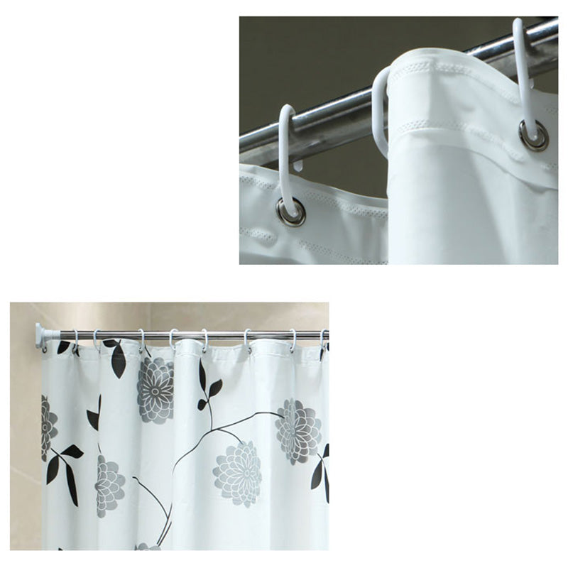 Babaite Creative Black White Leaves Waterproof Moldproof Bathroom Shower Curtain Bath Curtains with Hooks