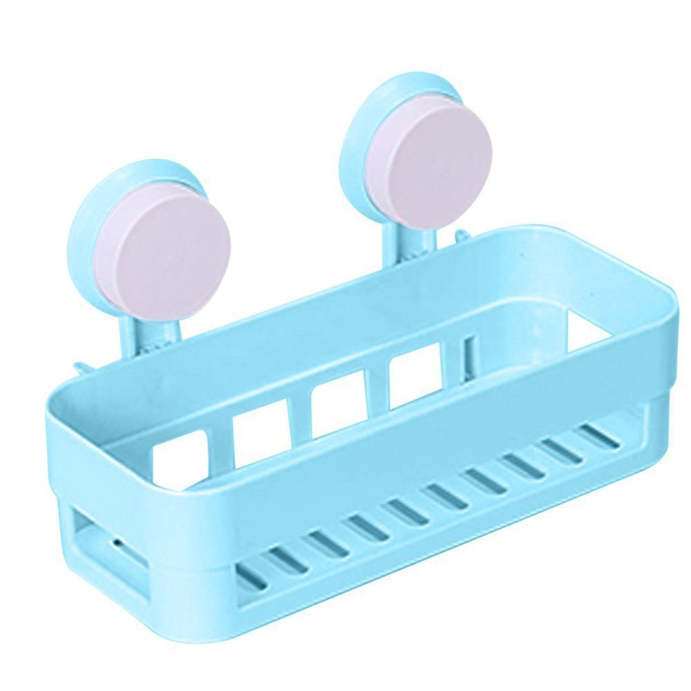 Bathroom Storage Holder Shelf Shower Caddy Tool Organizer Rack Basket Sucker Cup(Blue)