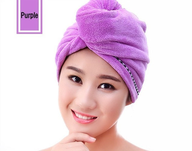 LDAJMW Microfiber Quickly Dry Hair Womens Girls Lady's Cap Drying Towel Head Wrap Hat Bath Towel Hair Dry Cap Salon Towel