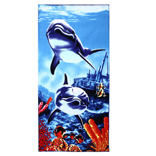 70*150CM Microfiber Bath Towel Tiger Dolphin Horse Pattern Women Beach Towel For Home Travelling