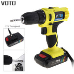 VOTO 21V Electric Drill Household Multi-function Electric Screwdriver Double Speed Lithium Cordless Drill Power Tools