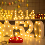 Digital Lights White Plastic Number LED Night Light Lamp Home Club Outdoor Indoor Wall Decor For Birthday Wedding Xmas Party