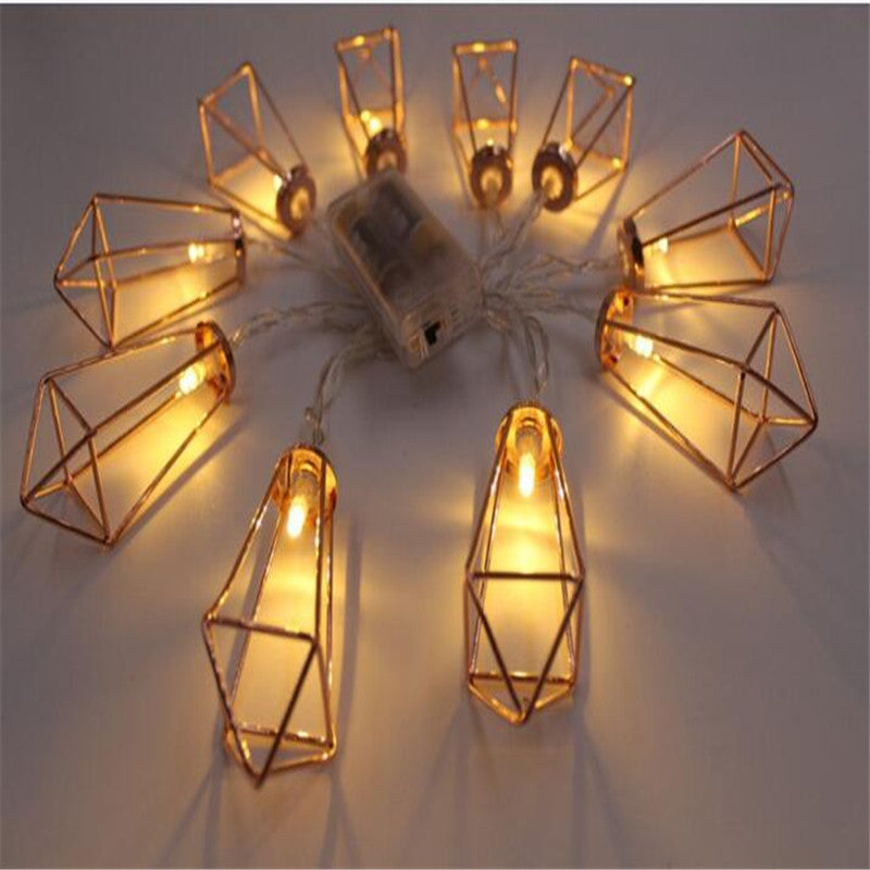 Iron Diamond Shaped 1.5M 10 LED String Light Christmas Outdoor Lighting Battery LED Fairy String Light Wedding Lamp Party Decor