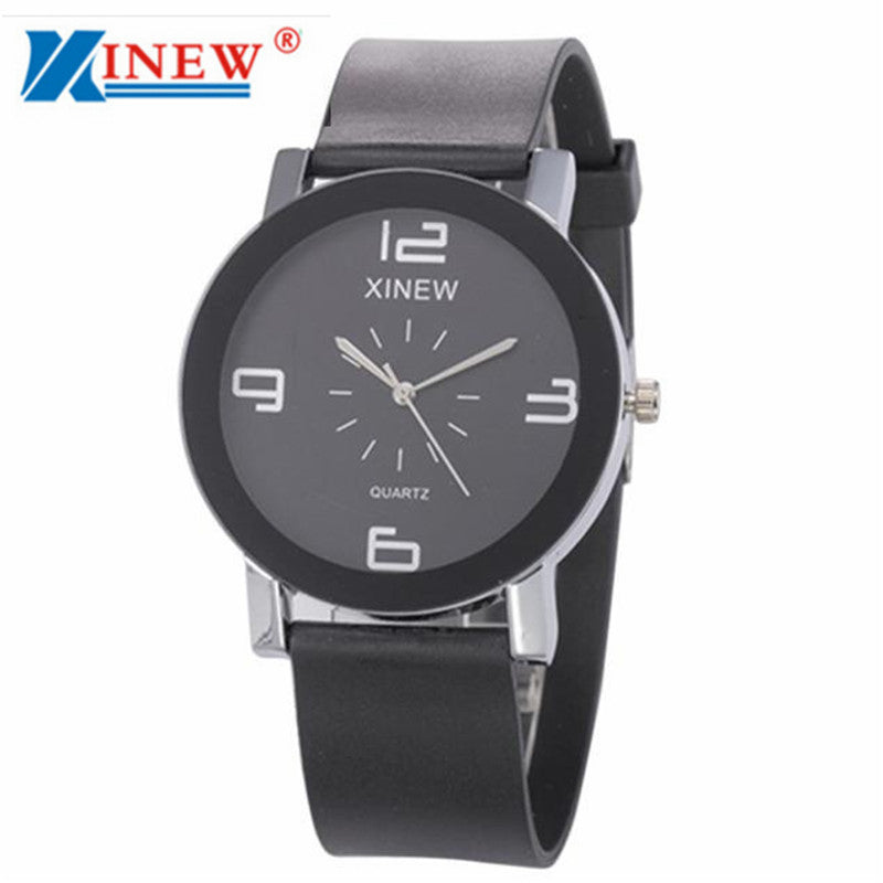Jimshop XINEW Brand Watches Men's Casual Quartz Dial Hour Leather Quartz Wrist Watch Round Case Unique Couple Gift Clock