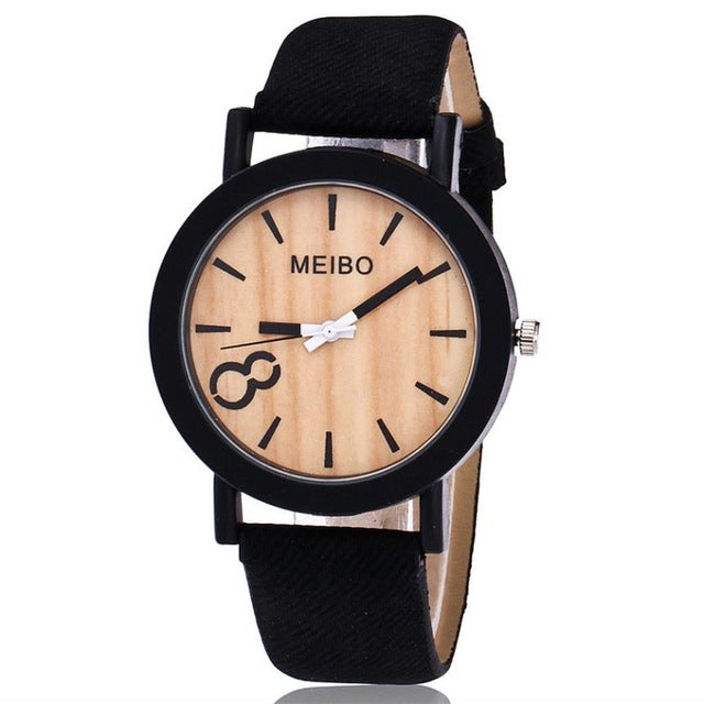 MEIBO Woman Watch High Quality Glass  Watch Leather Strap  Casual Wooden Color Quartz Wristwatches  Reloj Mujer  18FEB9