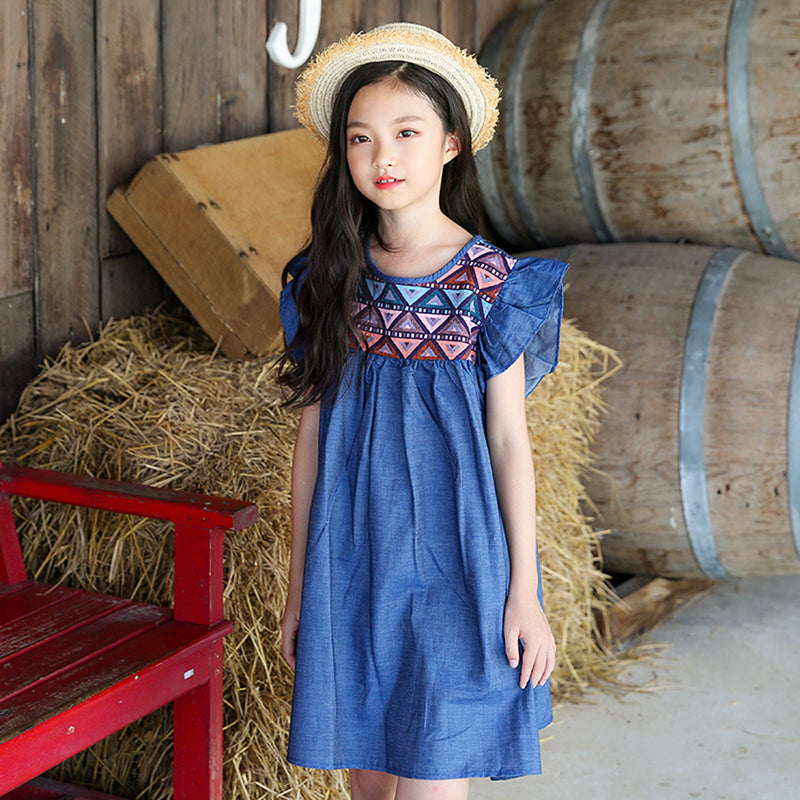new summer style petal sleeve cotton kids dress baby princess dresses for girls children's clothing infant dress girl tops