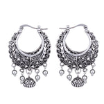 Women's Retro Antique Silver Vine Hollow Earrings