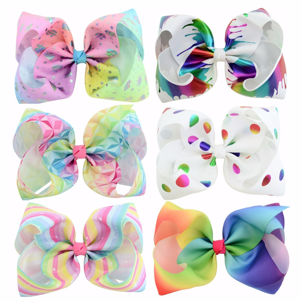6Pcs/lot 8 inch Large Rainbow Striped Dots Hair Bows With Clips For Kids Girls Colorful Hairpins Handmade Hair Accessories 801