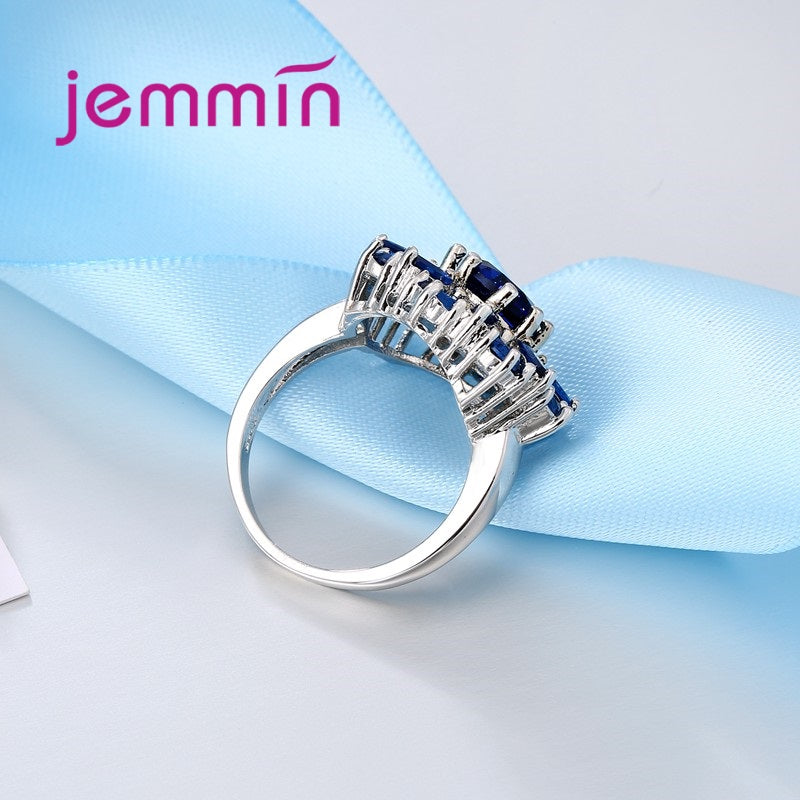 Jemmin Luxury sapphire Flower Ring for Women Best Gift High Quality Crystal Female Anel 925 Sterling Silver Jewelry for Wedding
