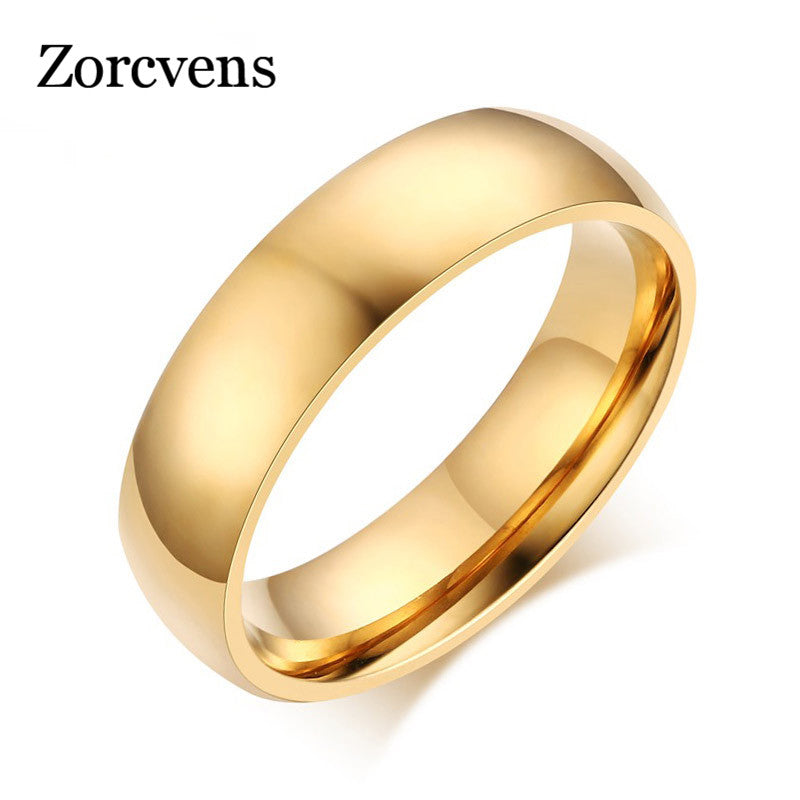 ZORCVENS New Fashion Gold and Silver Color High polished Stainless Steel Wedding Ring for Man Woman