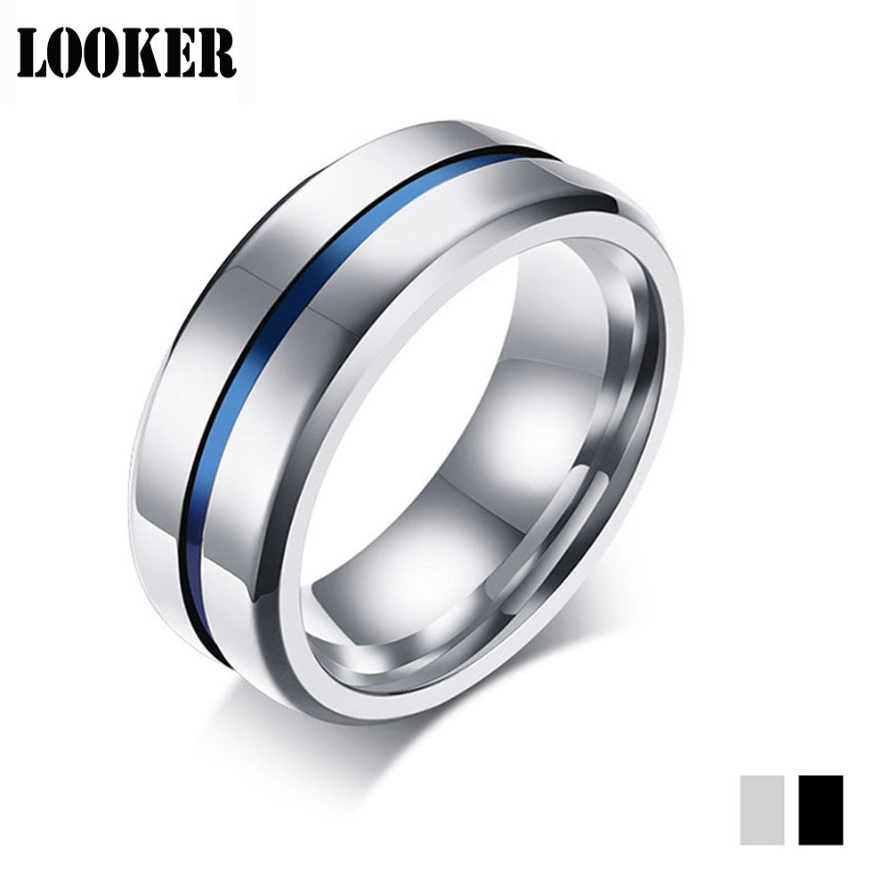 8mm Silver Black Men Engagement Ring US Size 7-12 Rainbow Stainless Steel Ring Wedding Band Male Jewelry