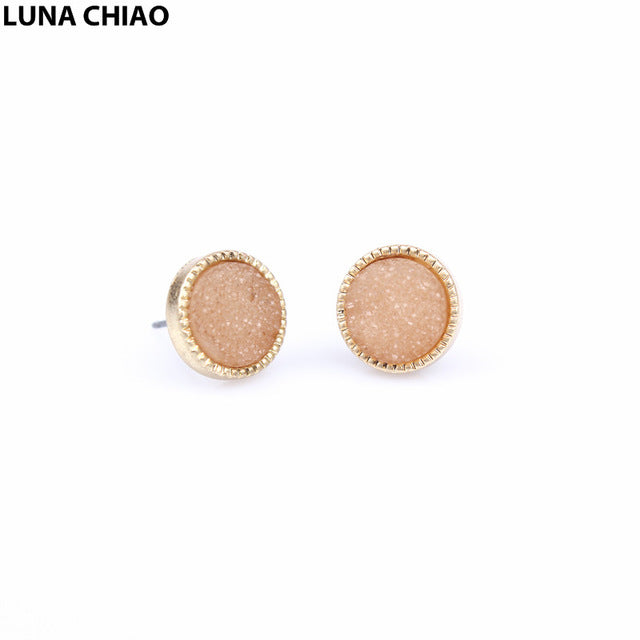 Mini Round Fake Resin Druzy Stone Ear Stud Metallic Rose Gold Druzy Post Earring