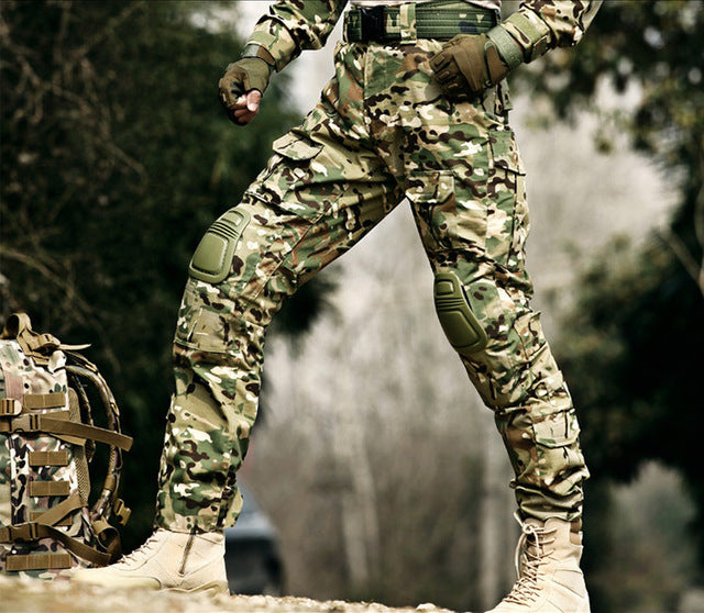 Tactical Military Camouflage Cargo Pants with Knee Pads