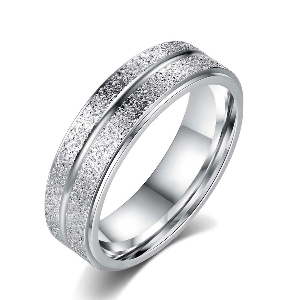 Wedding Rings Stainless Steel Double Row Frosted Rings Titanium Steel