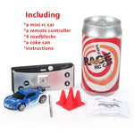 Radio Remote Control Coke Can Car Electric Toys Vehicle Micro Mini RC Racing Car For Kids Boys With Road Blocks