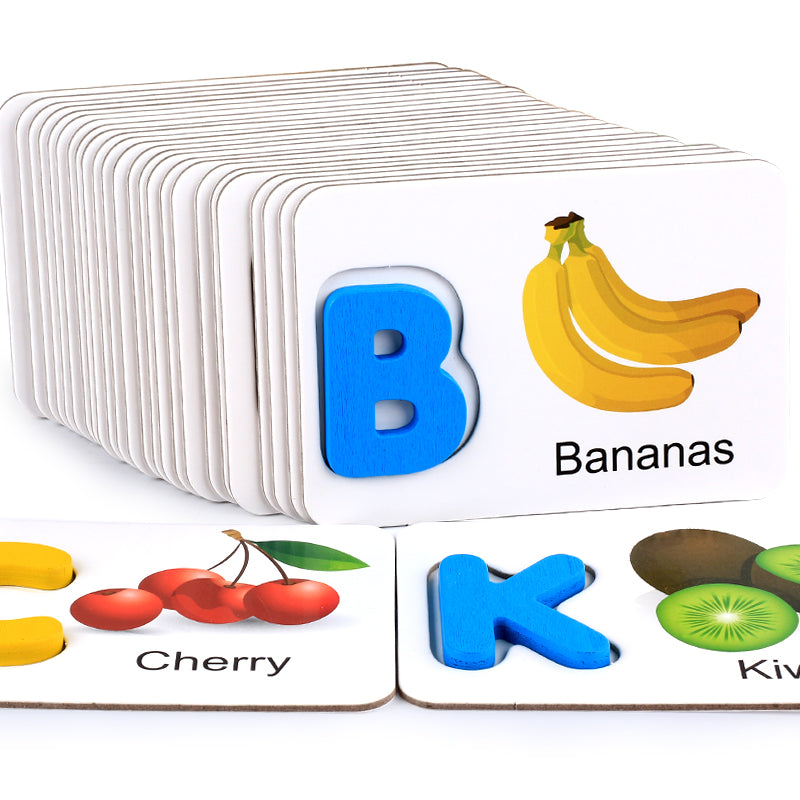 Wooden Toys Fruits and vegetables, English alphabet identification, alphabet cards, cognitive toys, early childhood education