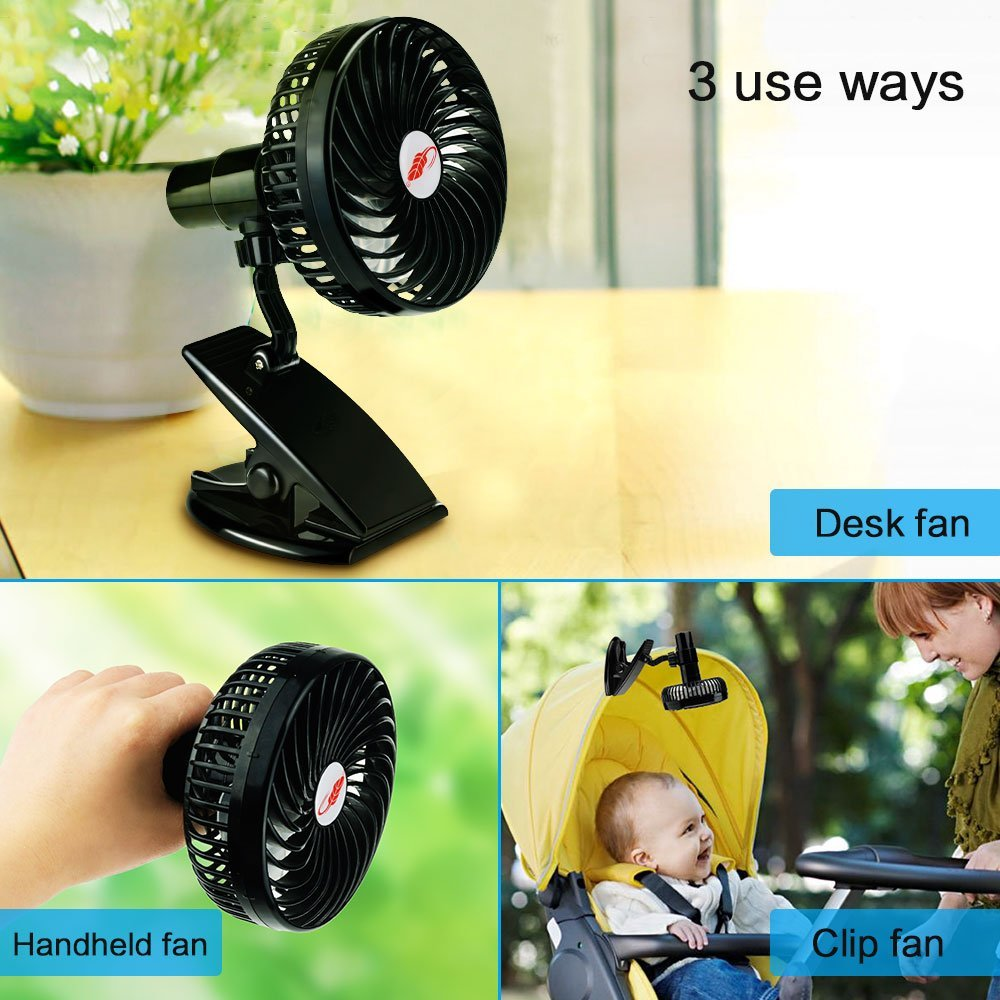 Mini Mute Clamp Fan Rechargeable Silent 4 Blades Baby Stroller Fans Portable Air Cooling 3 Speeds Desk USB Fan with USB output