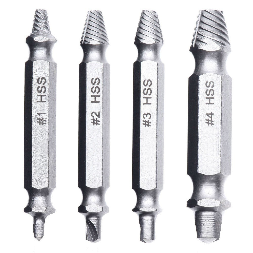4 Piece: Damaged & Stripped Screw Removal Extractor Set