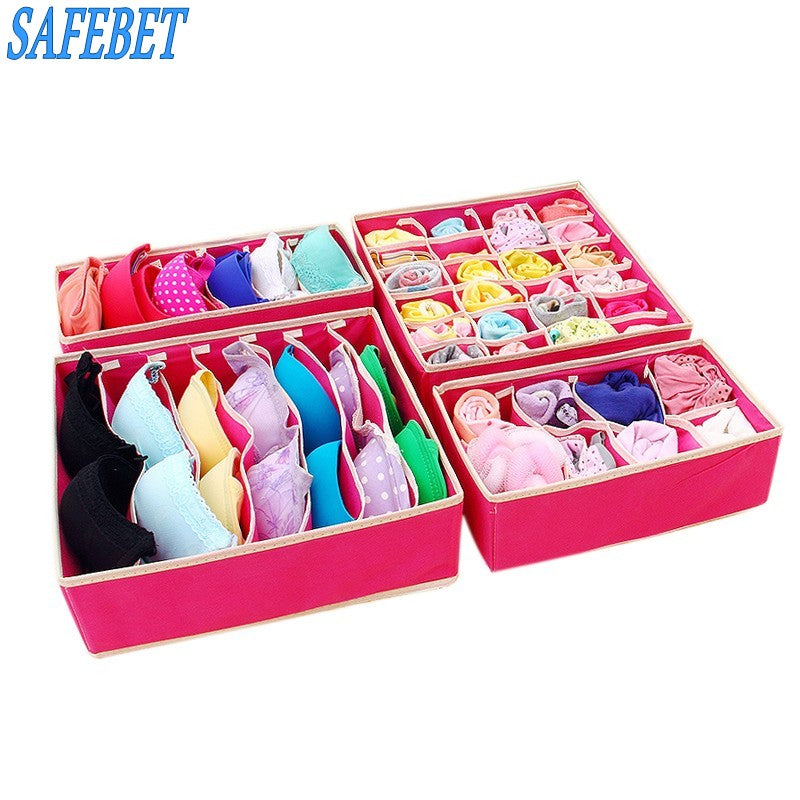SAFEBET 4pcs Non-Woven Fabric Folding Underwear Storage Box Underwear Necktie Bra Socks Briefs Organizer Box Home Storage Bag