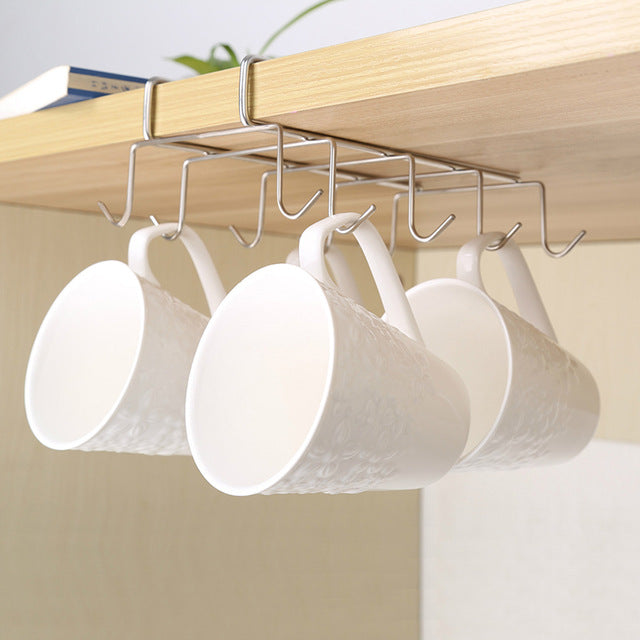 Stainless Steel Kitchen Rack Hanging Coffee Tea Cup mug Holder Shelf Kitchen Storage Rack Organizer Holder