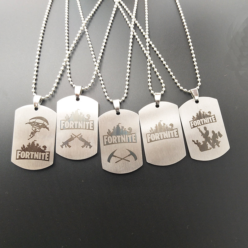 Game Fortnite Logo Printing Necklace Stainless Steel Pendant