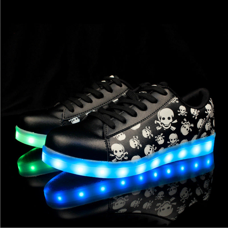 USB Recharge Led Shoes Girl Boy Luminous Sneakers Women Glowing Light Up Footwear Led Slippers Skull Head