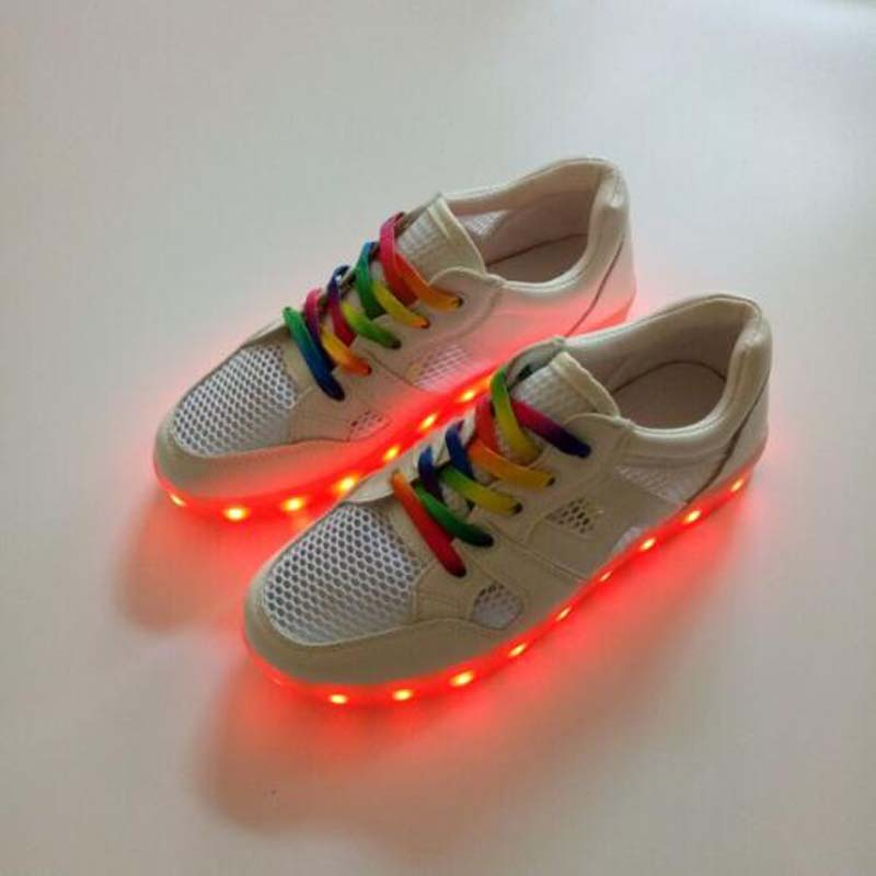 New kids LED luminous shoes USB charging shoes boys girls colorful LED shoes breathable children sneakers men women shoes