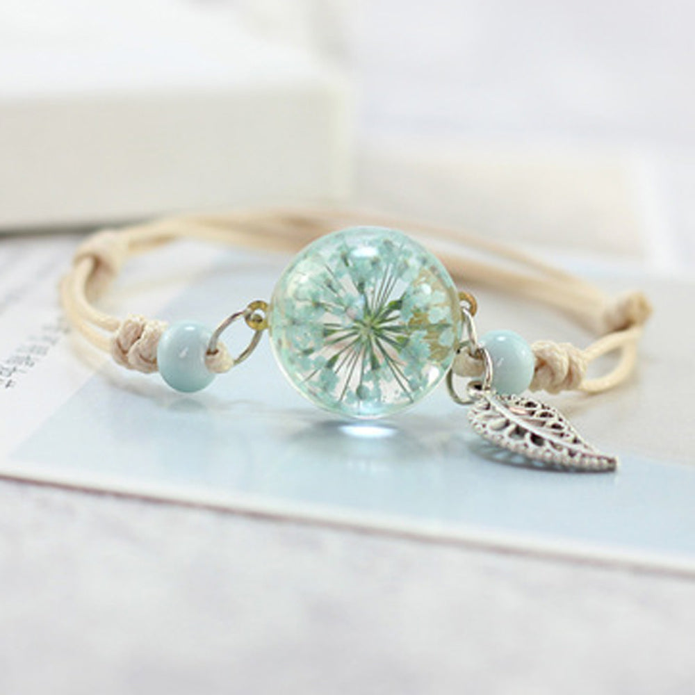 Boho Vintage Charm Bracelet Handmade Real Dry Flower Glass Ball Weave Adjustable Bracelets Bangle for Women Fashion