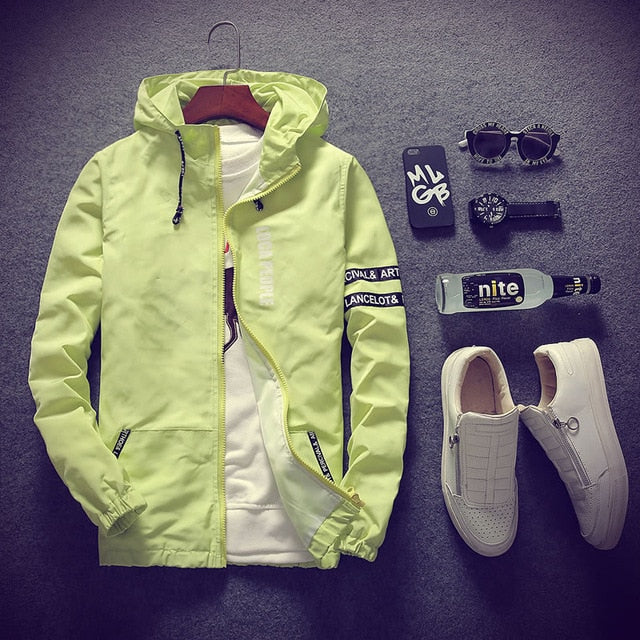 Men's Thin Slim Fit Fashion Windbreaker Jacket with Hood