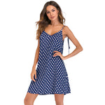 Women's Polka Dot Print V Neck Sleeveless Dress